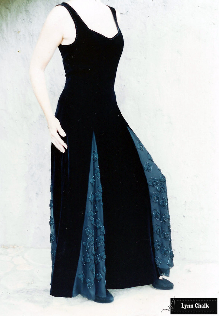 One-of-a-kind Black Velvet Dress by Lynn Chalk with Black Beaded Godets on Silk Chiffon