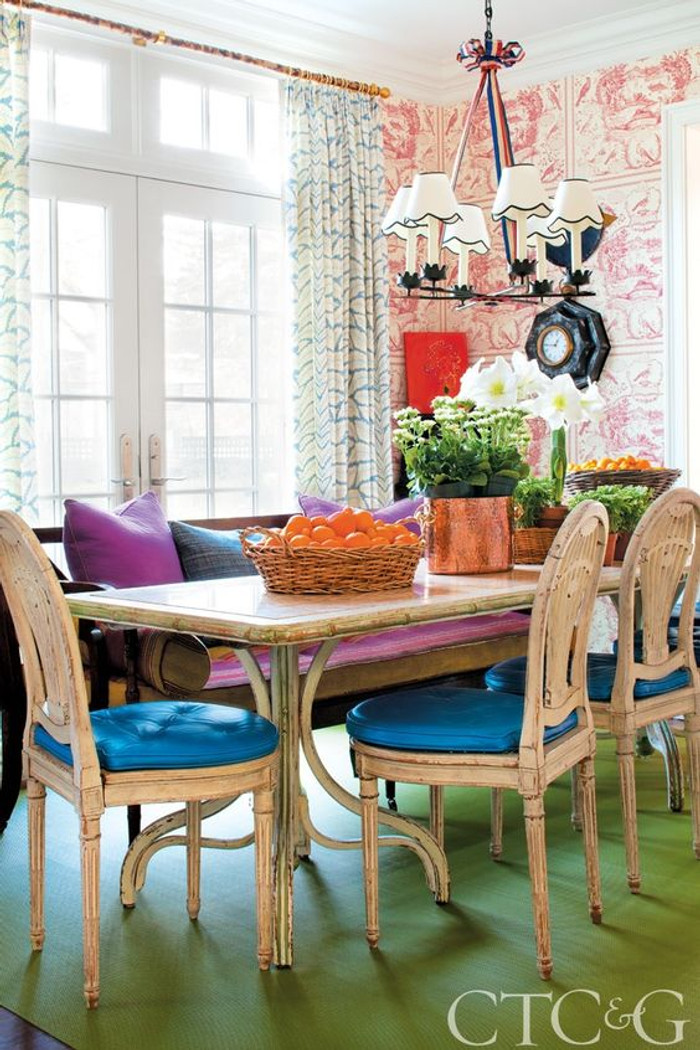 Dining Room Drapes in Brunschwig & Fils Talavera in Aqua (Connecticut Cottages & Gardens)
