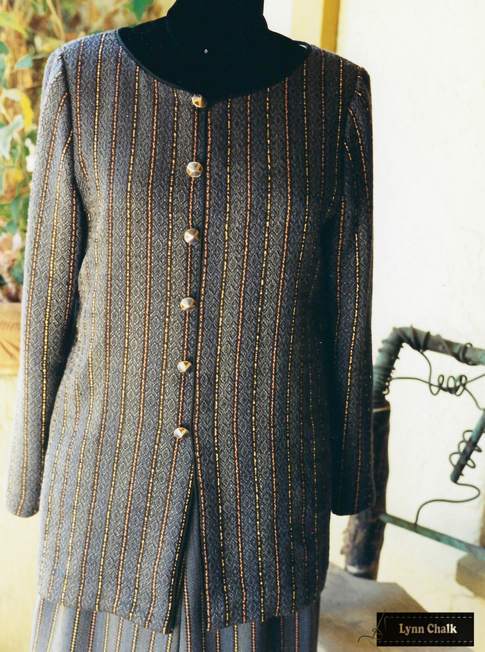 Handwoven Silk Jacket and Pants.  Silk Yards were hand dyed before fabric was woven.  Jacket and Pants woven, designed and sewn by Lynn Chalk.