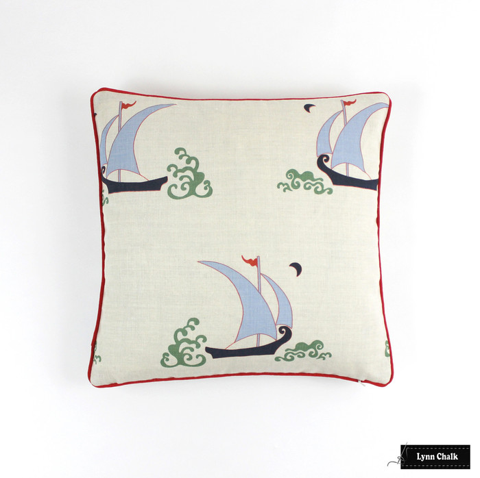 Katie Ridder Beetlecat Pillow in Lavender (18 X 18) with Tomato Red Welting