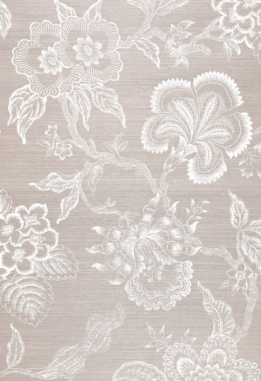 Celerie Kemble for Schumacher Hothouse Flowers Sisal Haze & Chalk Wallpaper