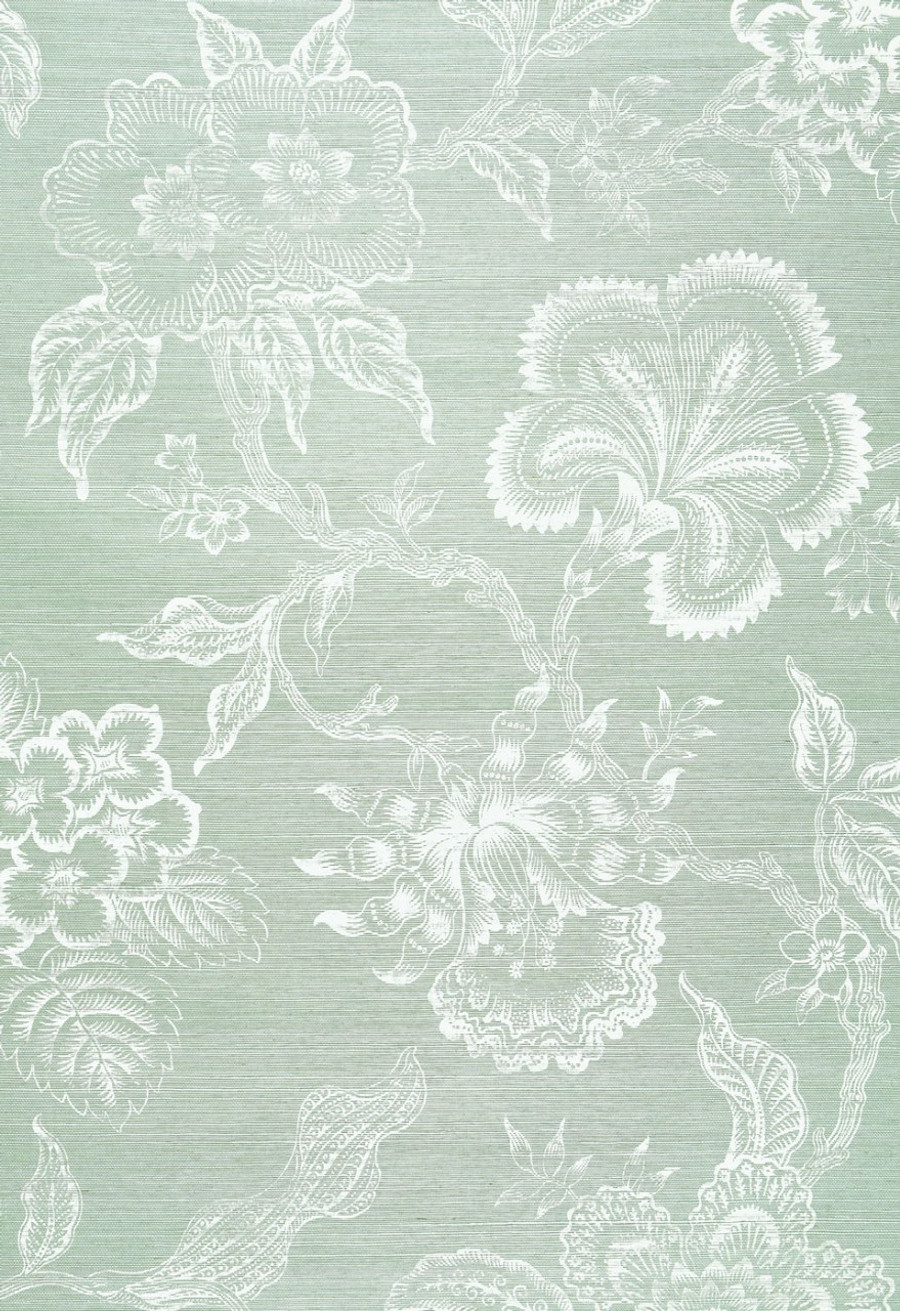 Celerie Kemble for Schumacher Hothouse Flowers Sisal Seaglass & Chalk Wallpaper