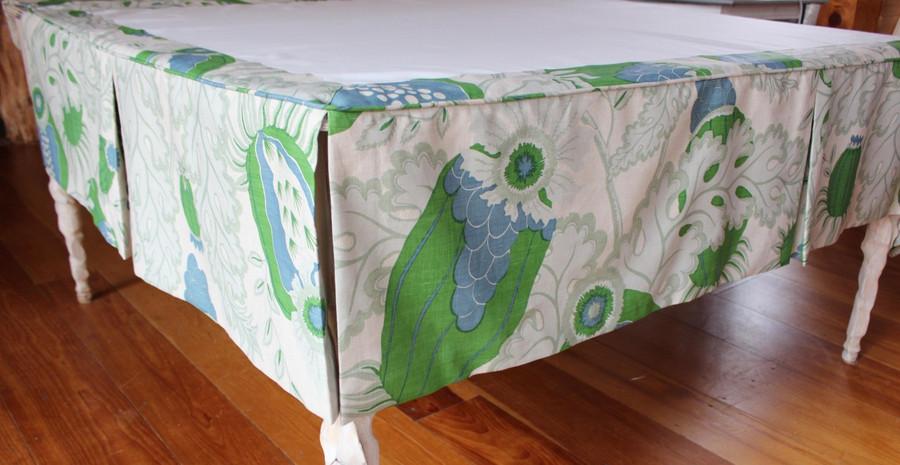 Bedskirt in Christopher Farr Carnival in Green