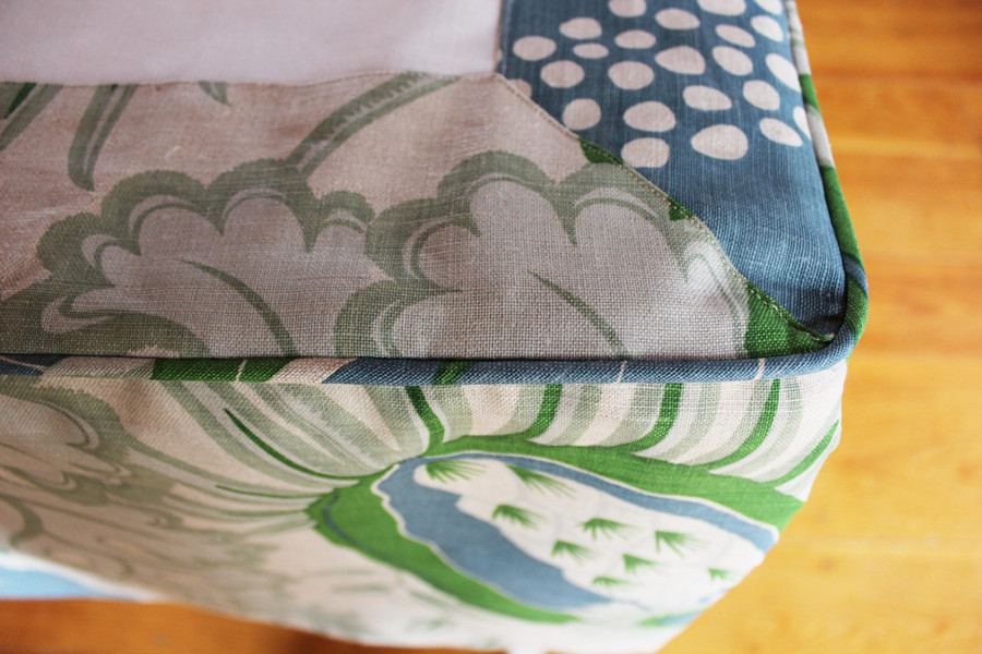 Detail of Bedskirt with mitered edge and welting around 3 sides
