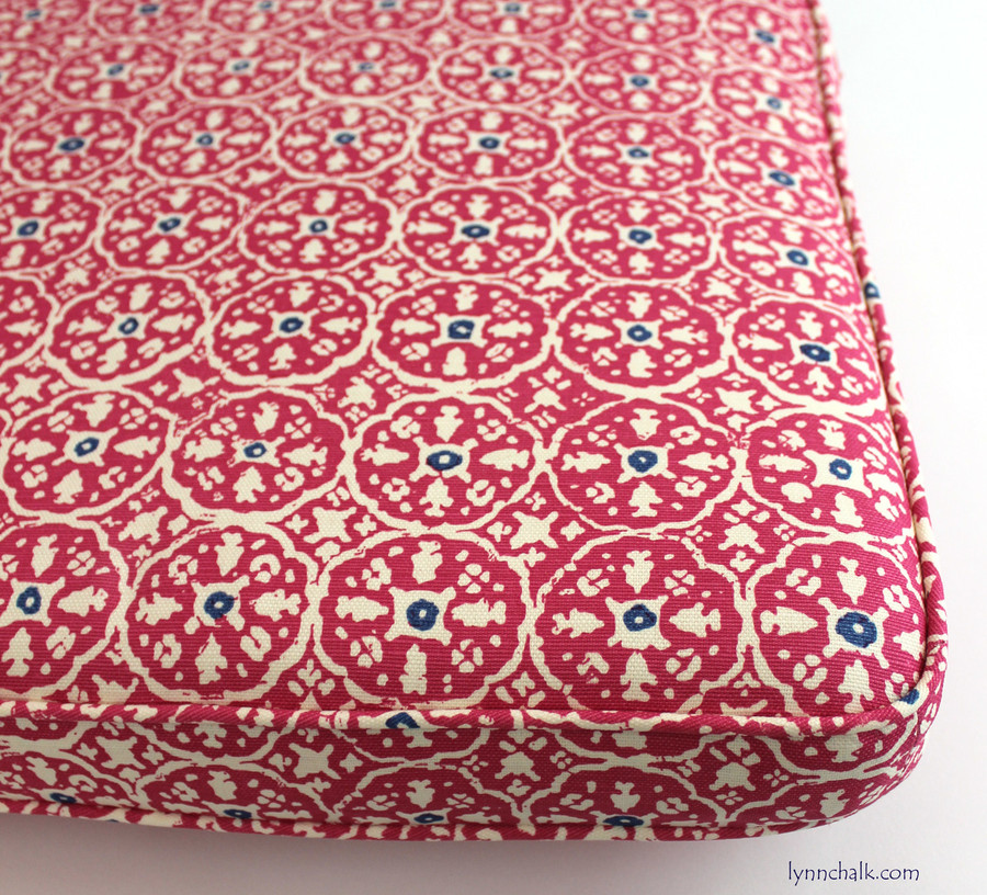 Quadrille Nitik II Magenta Navy Cushion