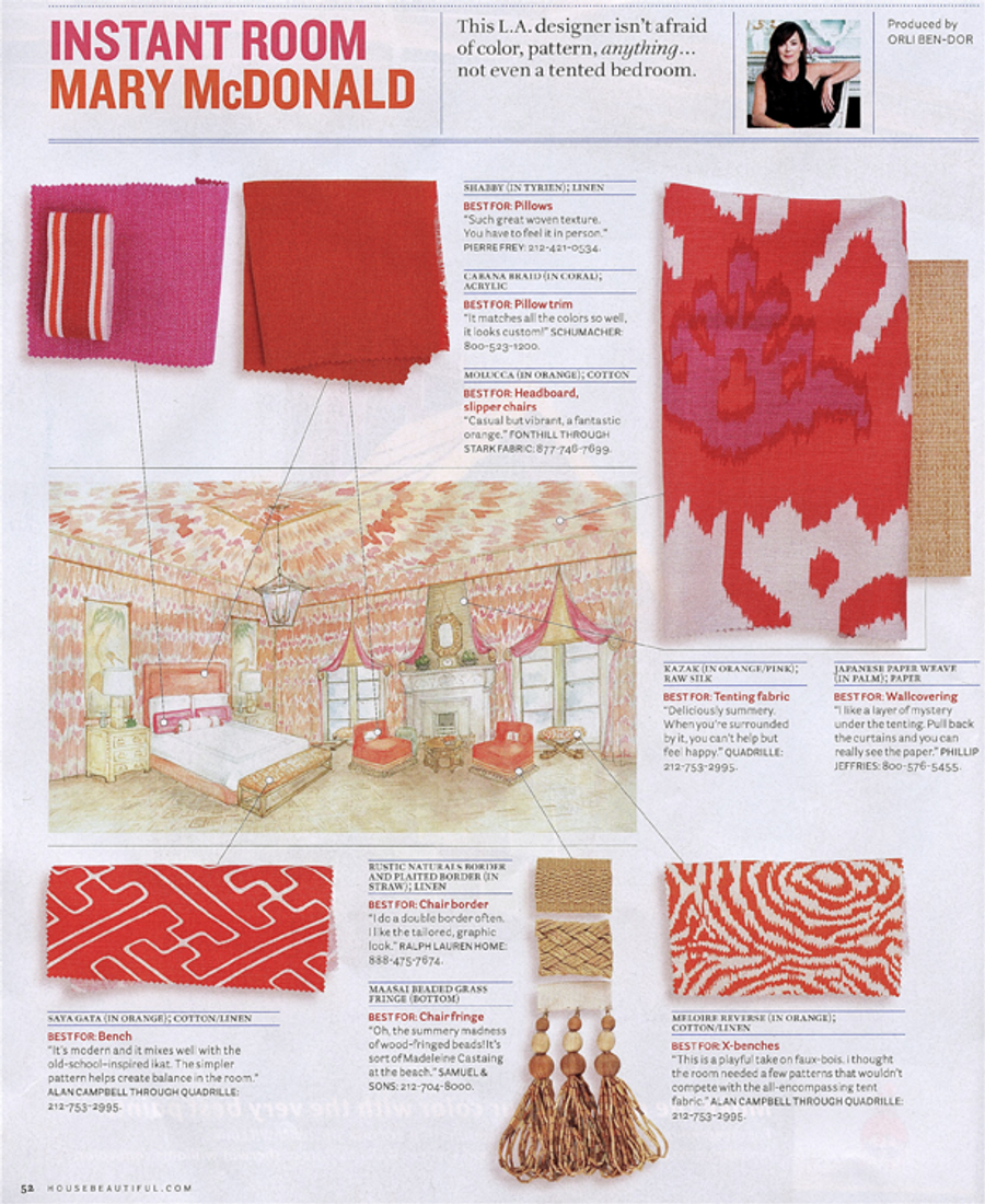 House Beautiful - Mary McDonald Design Ideas using Quadrille Fabrics