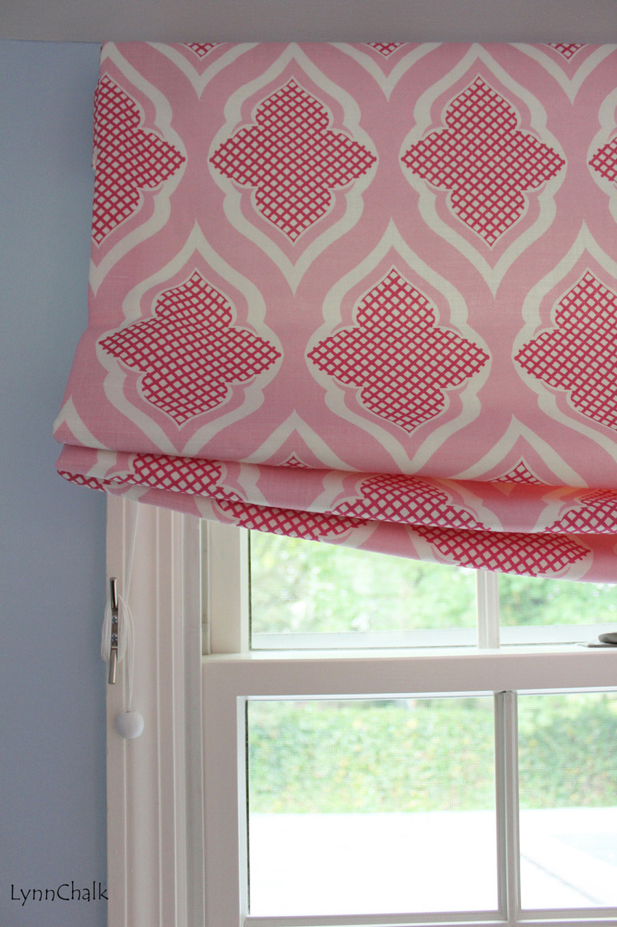 Relaxed Roman Shade in Christopher Farr Venecia in Hot Pink