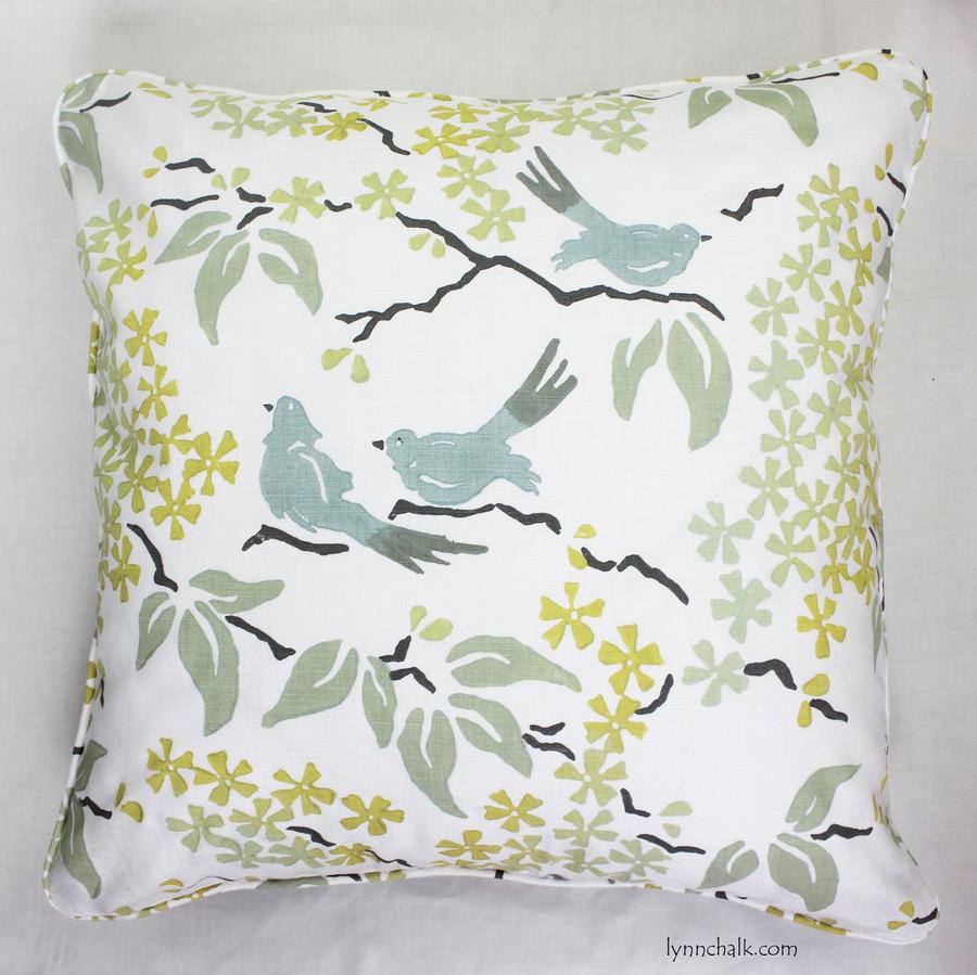 Custom Pillow with welting by Lynn Chalk in Galbraith & Paul in Birds.