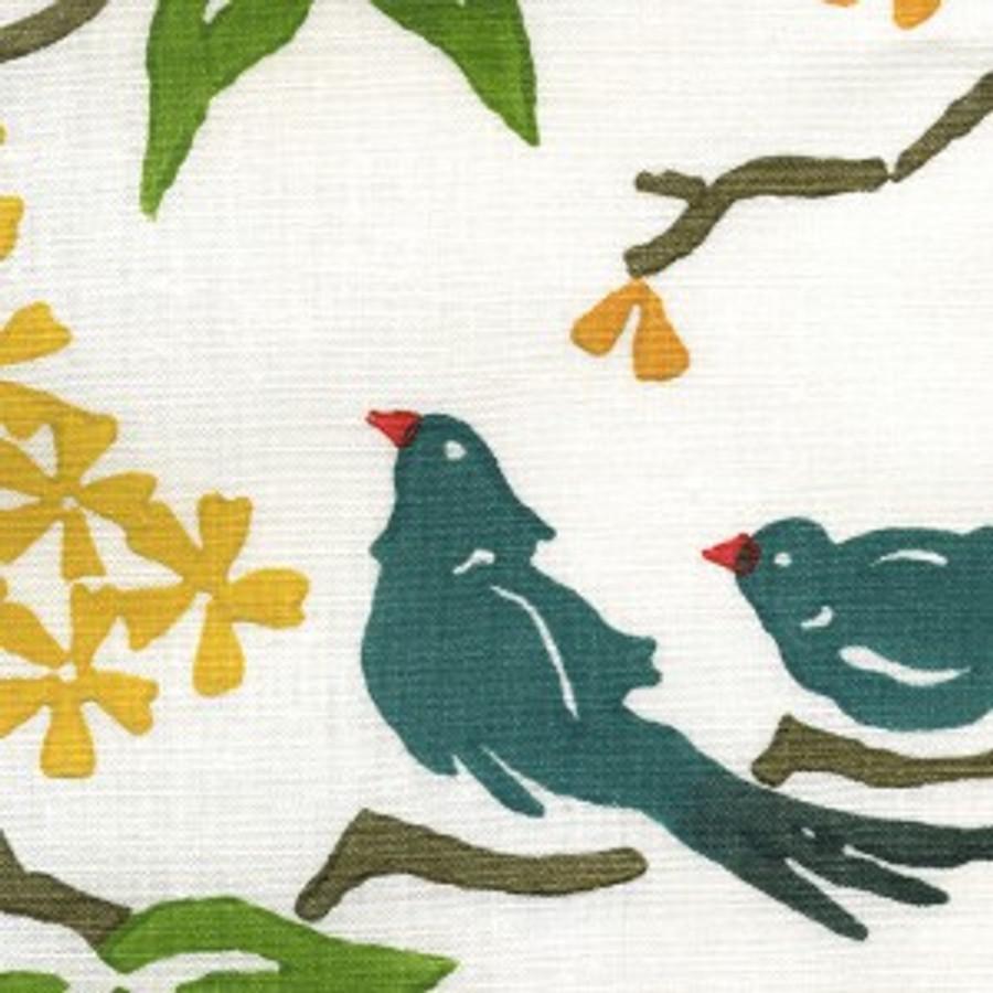 Birds in Lake on White Linen