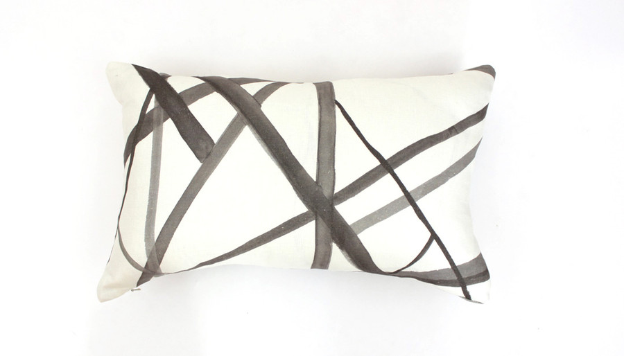 "Kelly Wearstler Channels in Taupe/Ivory Lumbar Pillow Cover 12"" X 20"" (Both Sides)"