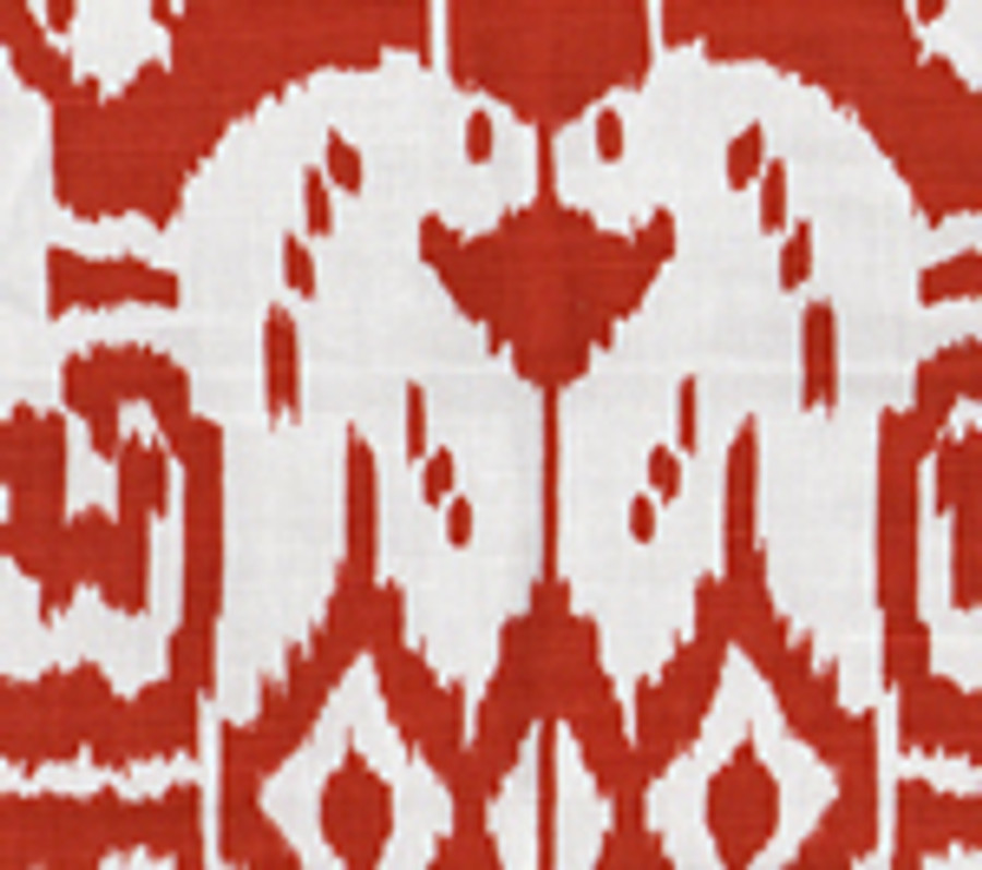 Quadrille Island Ikat Dark Red on White