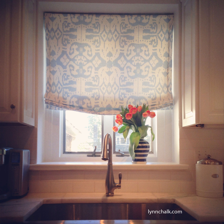 Custom Roman Shade by Lynn Chalk in Quadrille Island Ikat in Zibby Blue (Picture sent in by client)