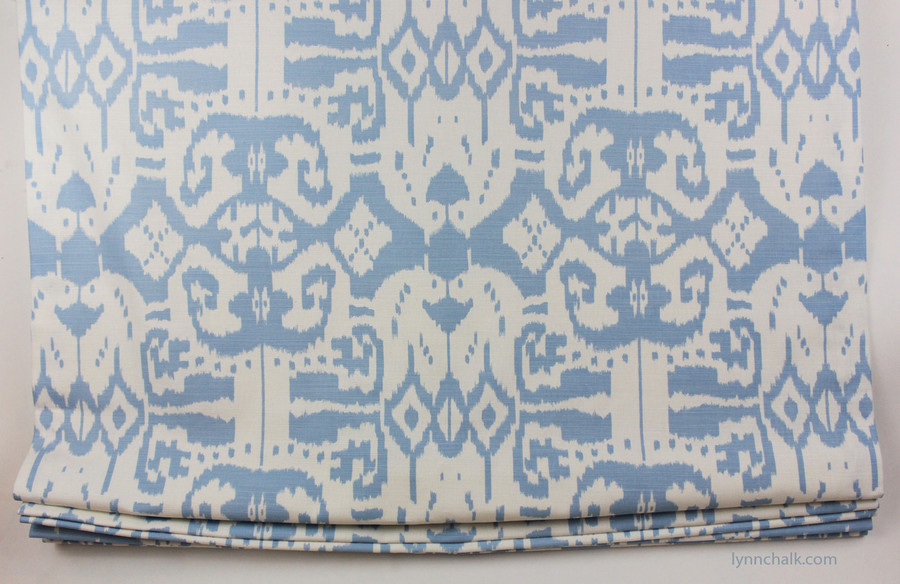 Custom Roman Shade by Lynn Chalk in Quadrille Island Ikat in Zibby Blue