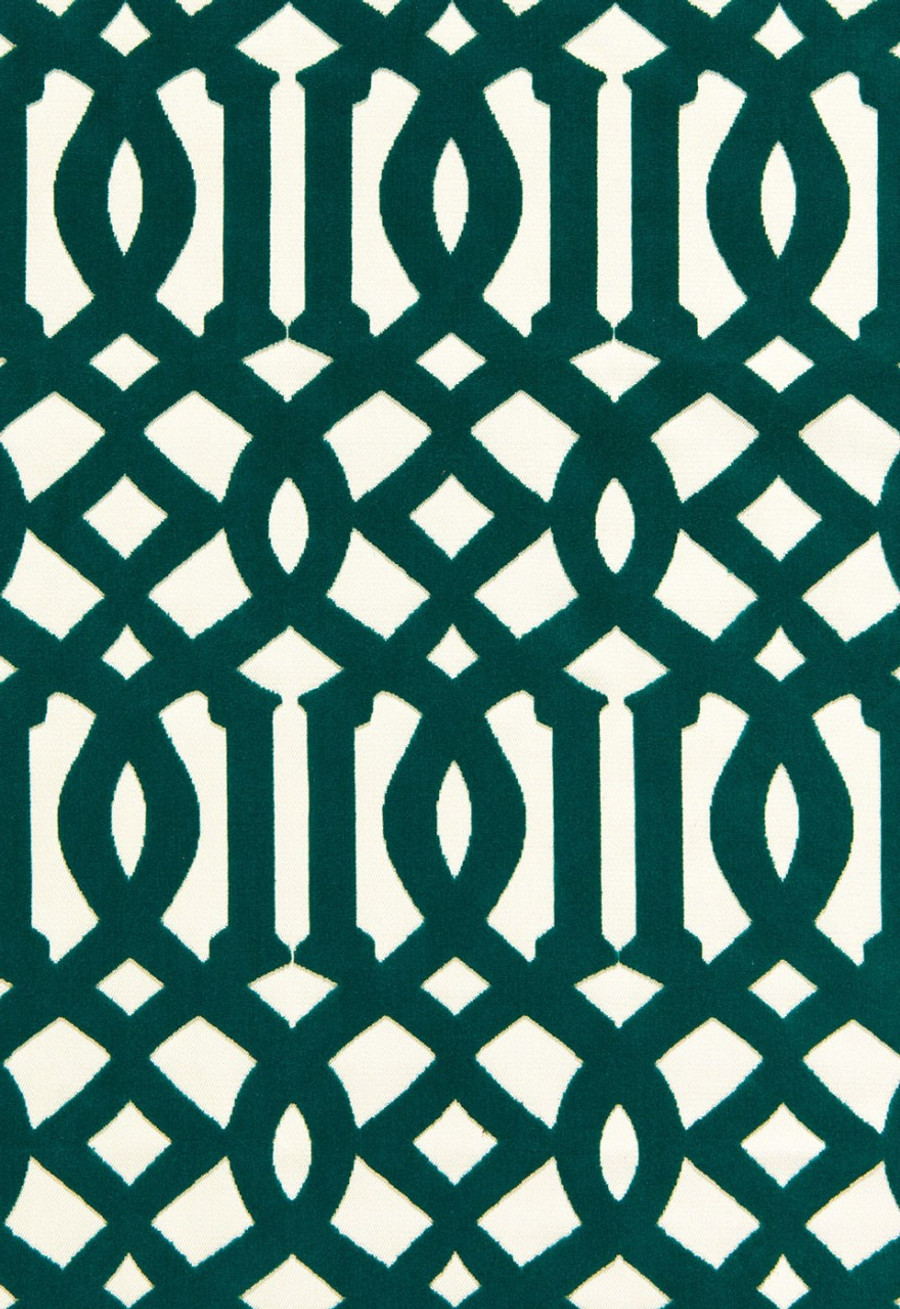 65590 Schumacher Kelly Wearstler Fabric Imperial Trellis Velvet Peacock