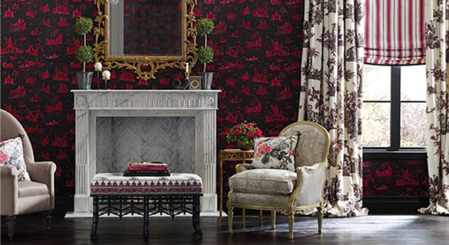 Alessandra Branca Continenti Noir/Rouge on Drapes, Branca Stripe in Rouge on Shade and Elizabeth Rouge/Grey on Pillow on Chair.  Chairs are in Sophia Diamond and Anna Damask.  Wall is Coromandel Rouge/Noir.