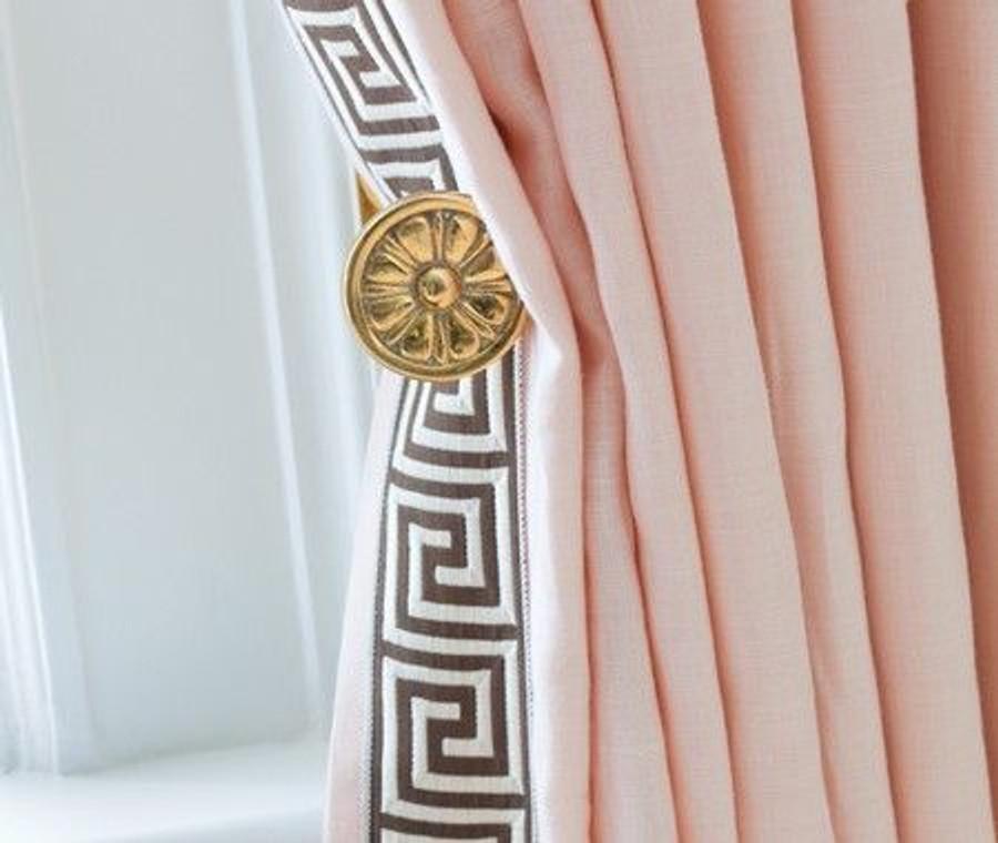 Pale Pink Drapes with Greek Key Trim