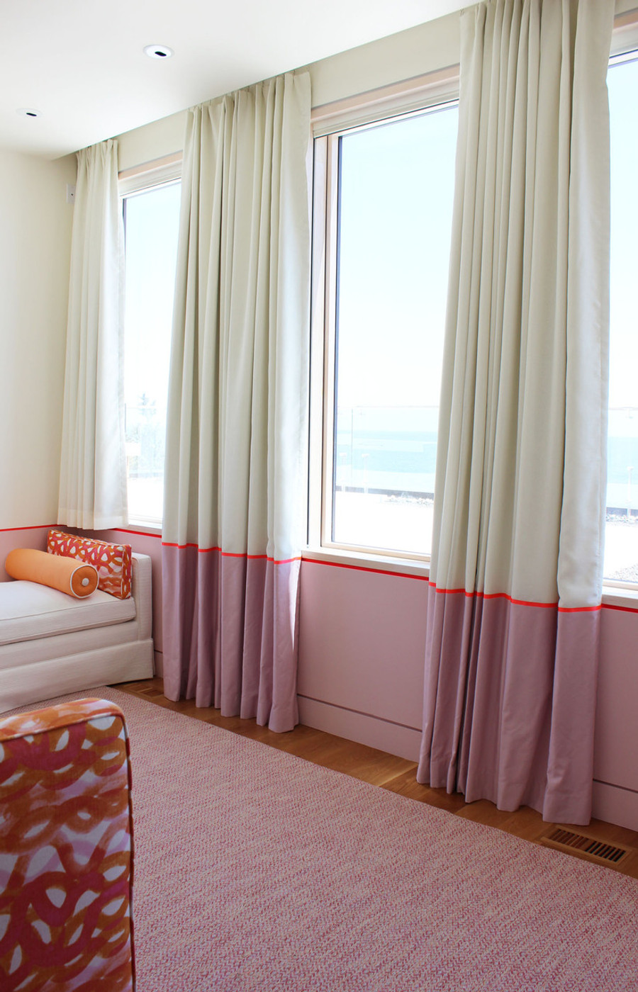 Custom Drapes by Lynn Chalk (White Linen with Pink Bottom Border and Neon Trim)