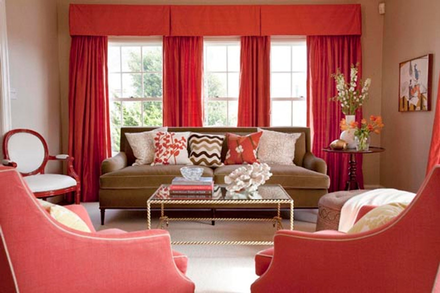 Red Drapes and Box Pleated Valance (Massucco Warner Miller)