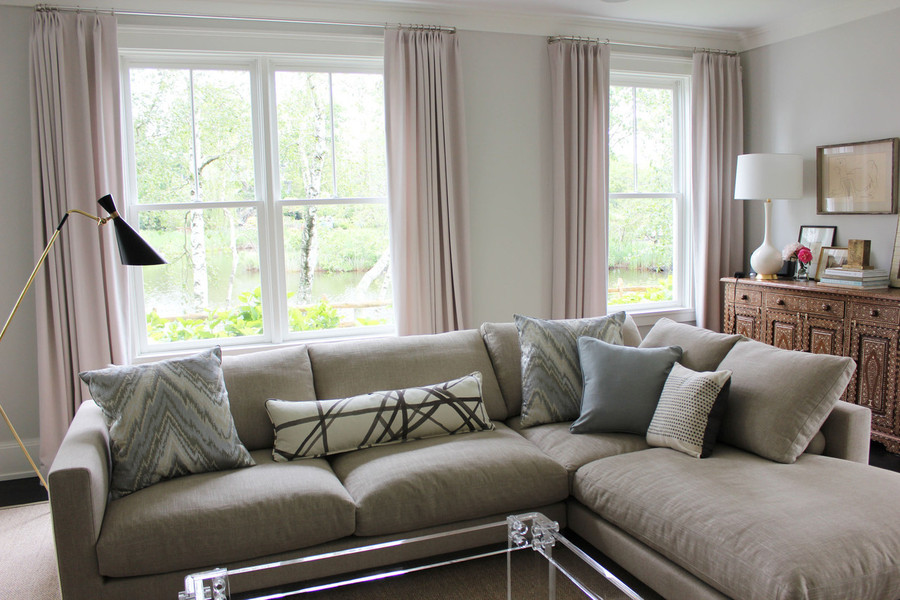Custom Drapes with long lumbar pillow in Kelly Wearstler Channels in Taupe (by Lynn Chalk)