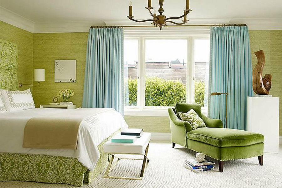 Beautiful Aqua Drapes with Bedskirt in Quadrille Veneto Apple Green.