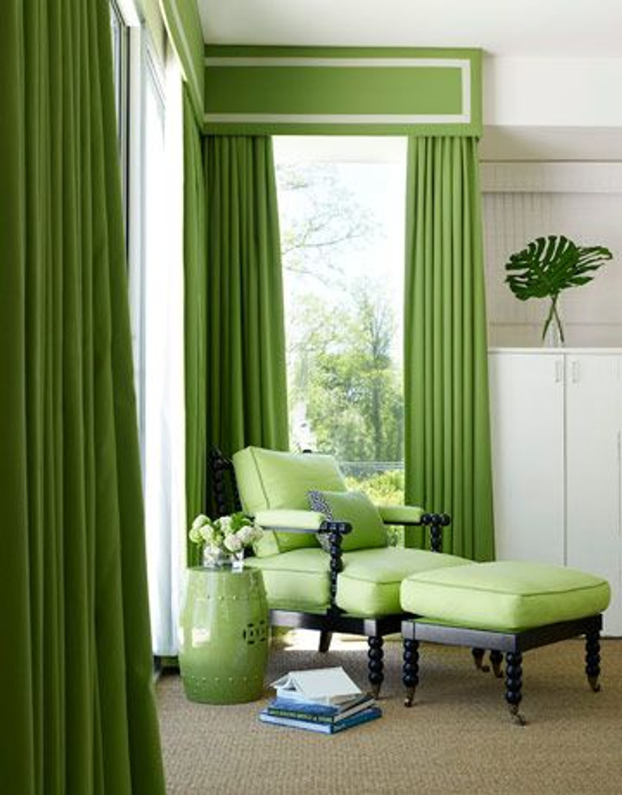 Green Drapes and Box Valance in Pindler & Pindler Maybrook in Kiwi with Samuel and Sons Trim