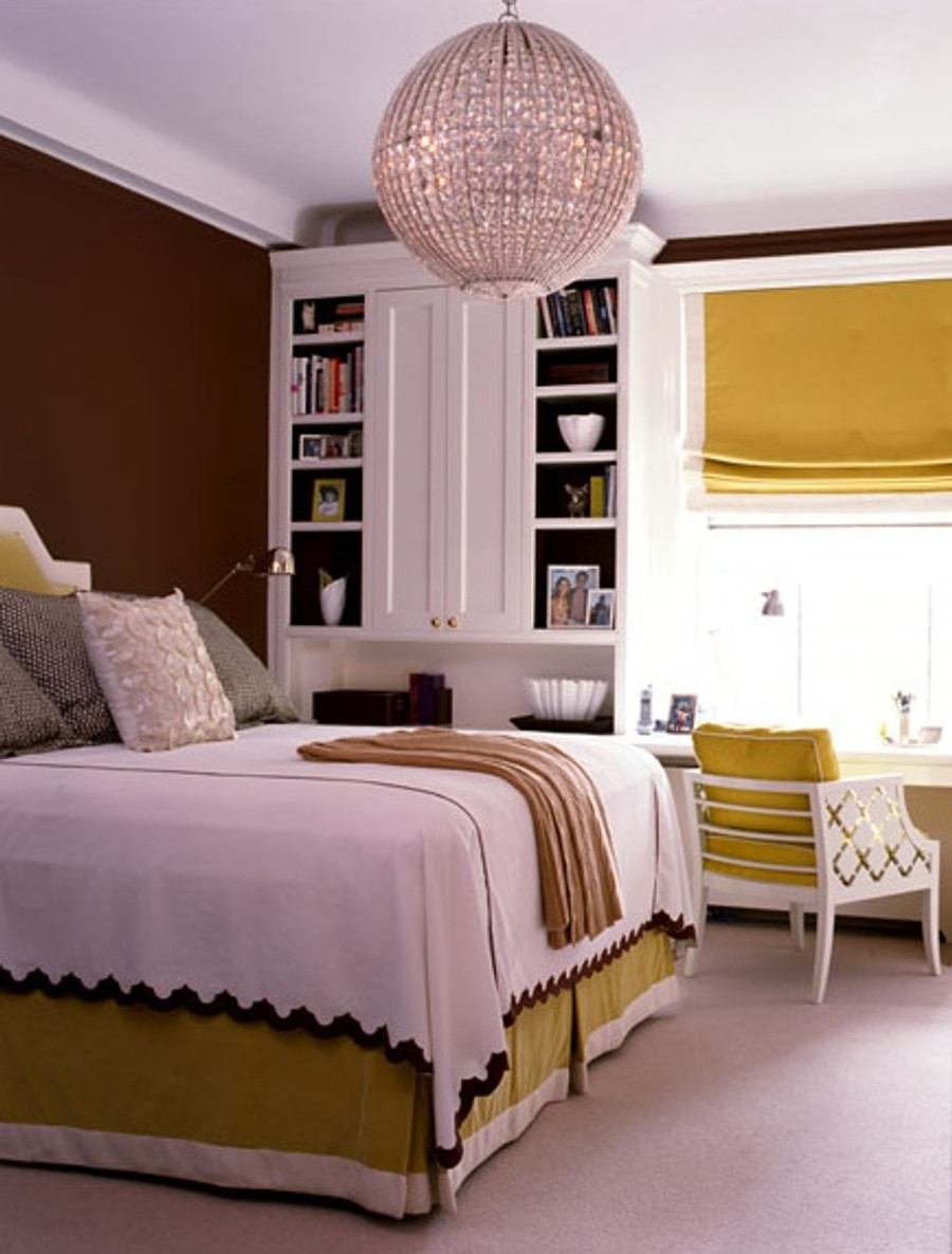 Beautiful Gold Roman Shade with Cream Border and matching Bedskirt (Room Designed by Amanda Nesbit)