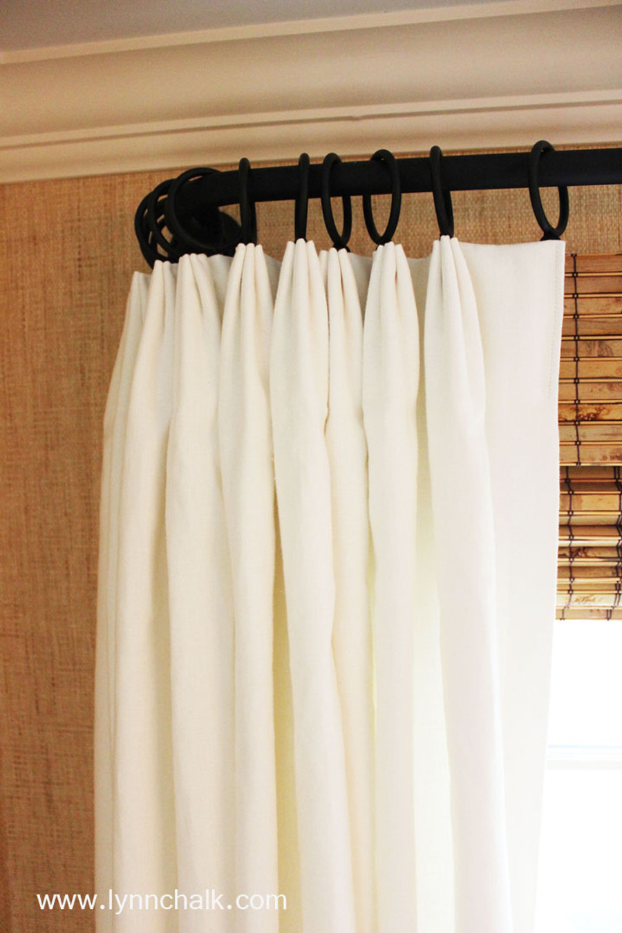 Custom Fan Pleated Drapes by Lynn Chalk in Kravet Dublin Linen in Bleach.