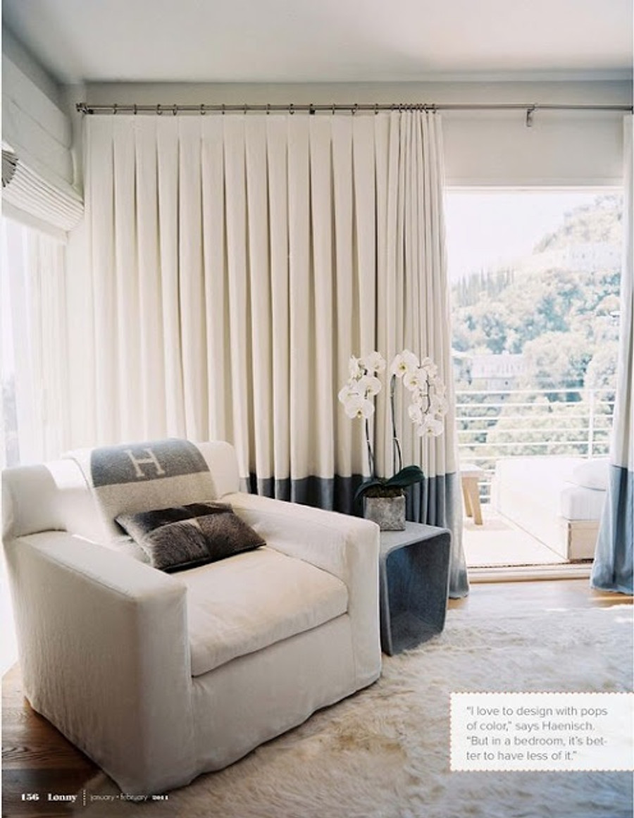 Drapes with Inverted Box Pleat Heading and Contrasting Border