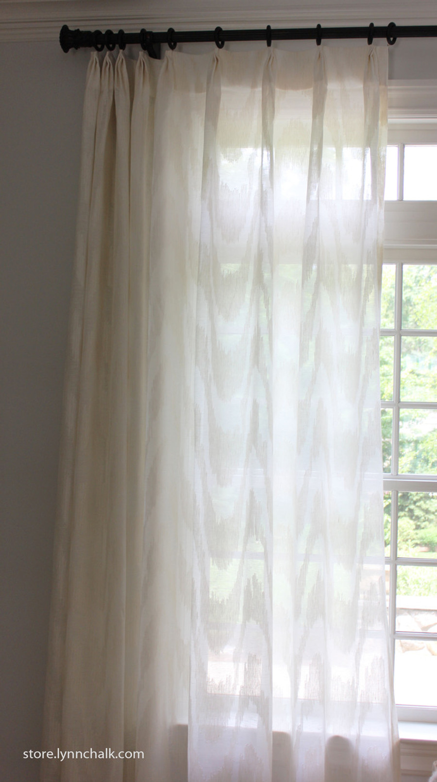 Custom Sheer Drapes by Lynn Chalk in Cowtan & Tout Marina in Ecru