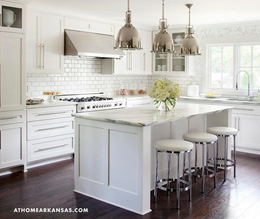 Kitchen Walls in Schumacher Twiggy Wallpaper in Silver