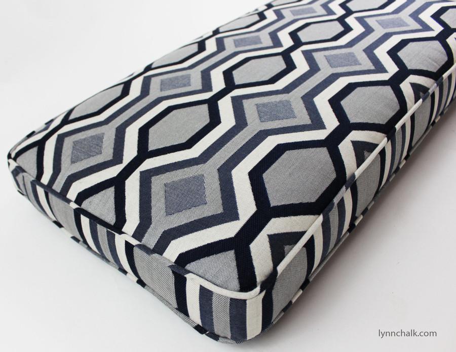 Custom Cushion by Lynn Chalk in Robert Allen Diamond Vista in Navy