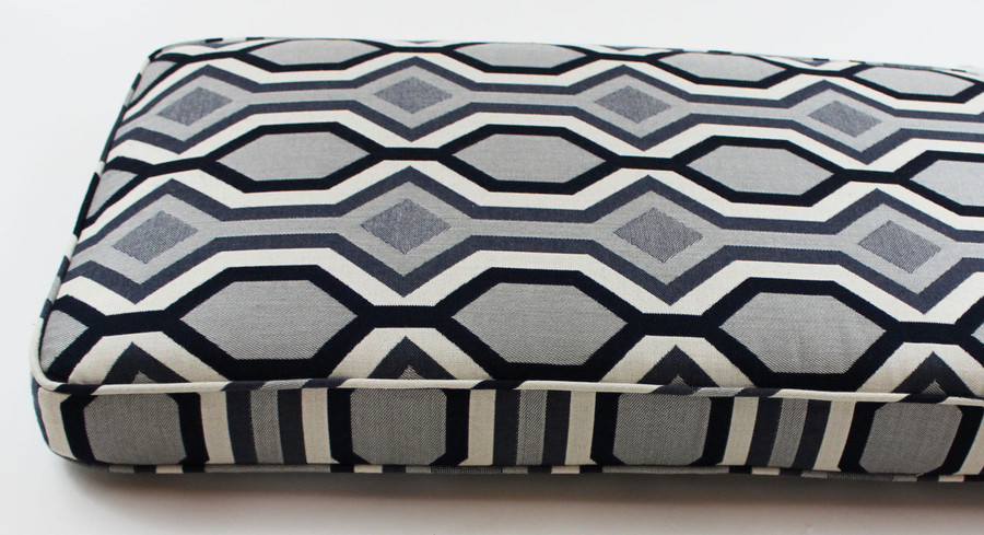 Custom Cushion by Lynn Chalk in Robert Allen Dwell Studio Diamond Vista in Navy