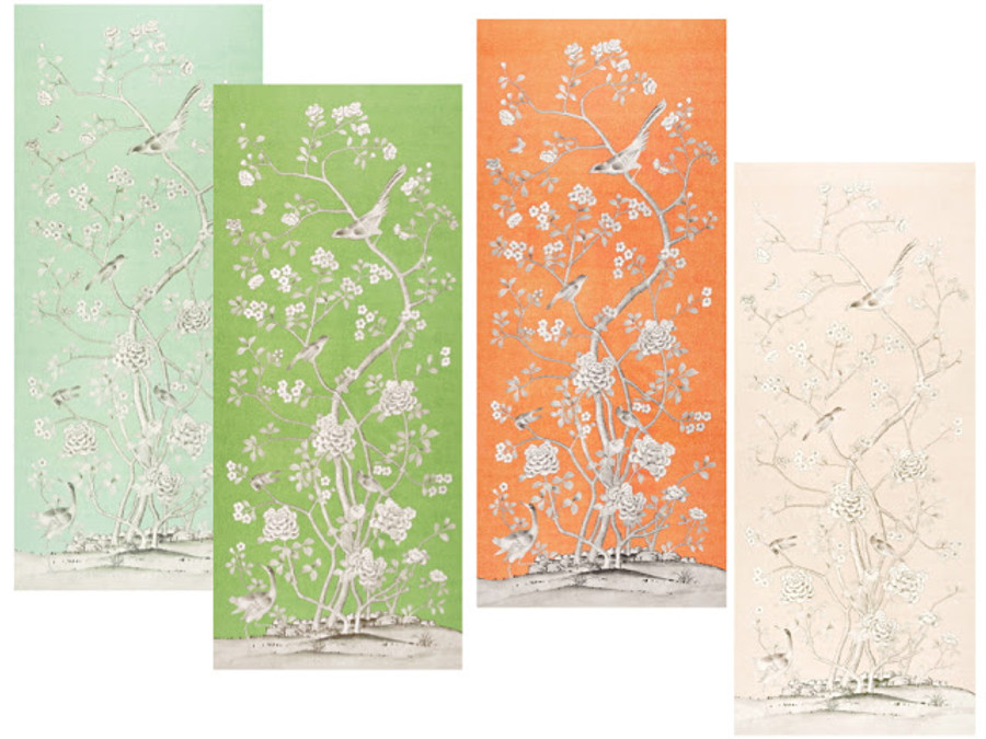 Chinois Palais Wallcovering by Mary McDonald in Aquamarine, Lettuce, Tangerine and Blush Conch