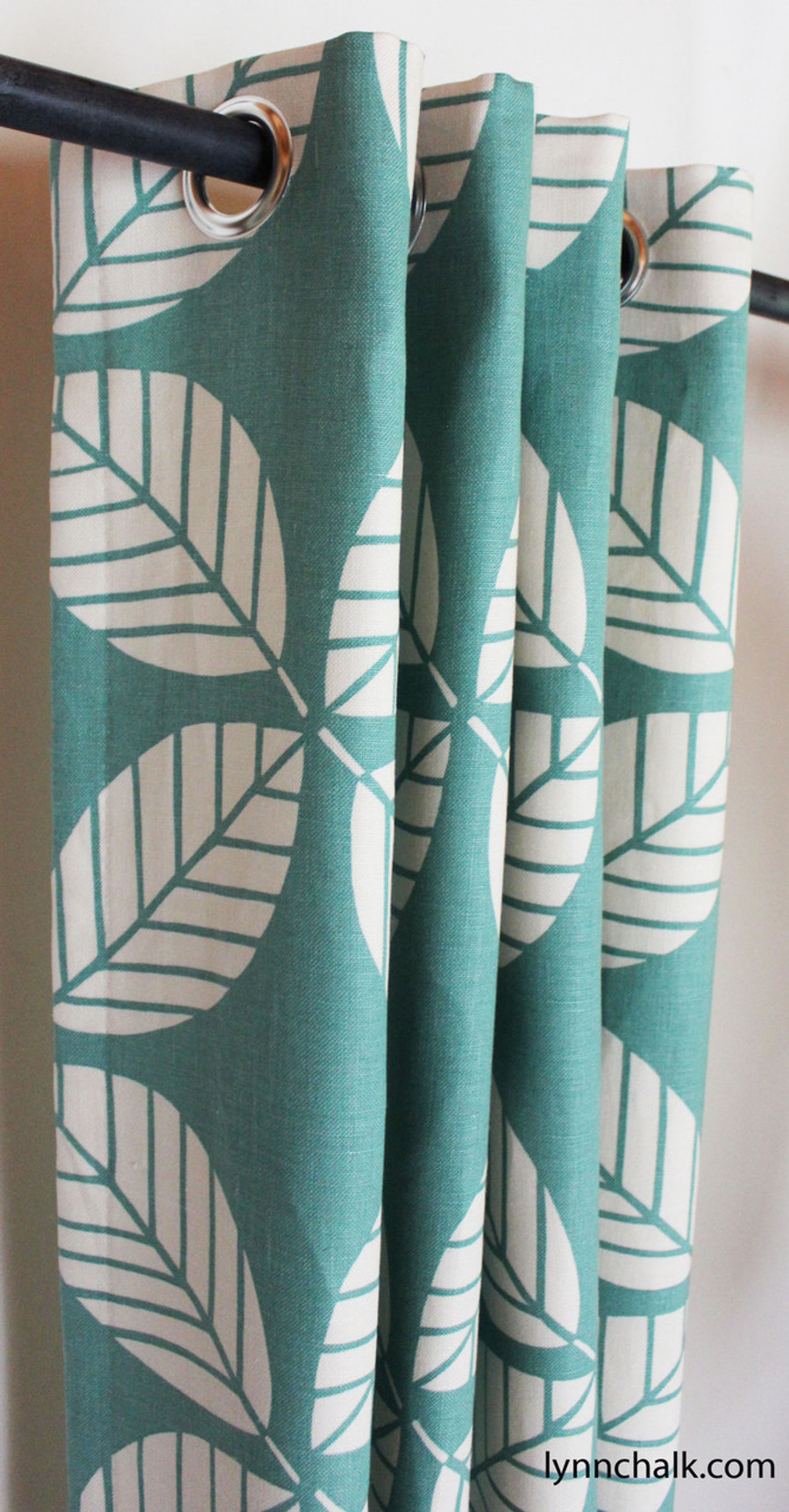Custom Grommet Drapes by Lynn Chalk in Duralee 42190-23 Peacock