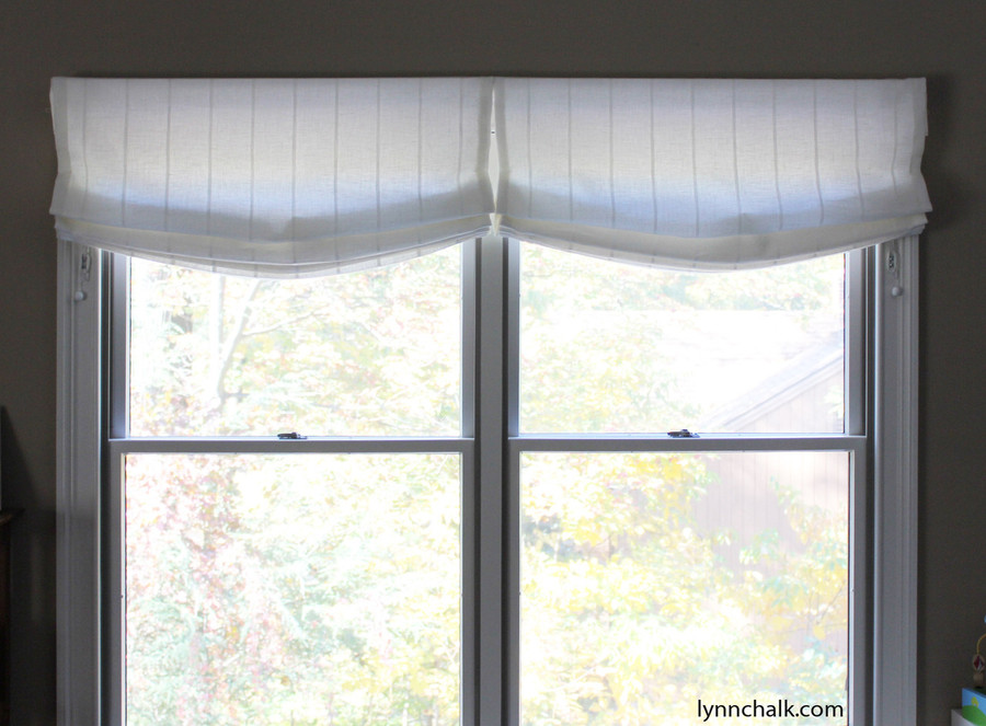 Custom Casual Roman Shades by Lynn Chalk in Kravet 3586-1116 Sheer Linen Stripe