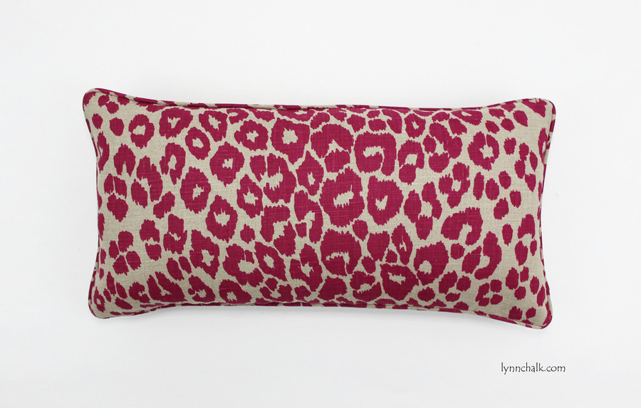 Custom 12 X 24 Pillow with self welting by Lynn Chalk in Schumacher Iconic Leopard Fuchsia/Natural