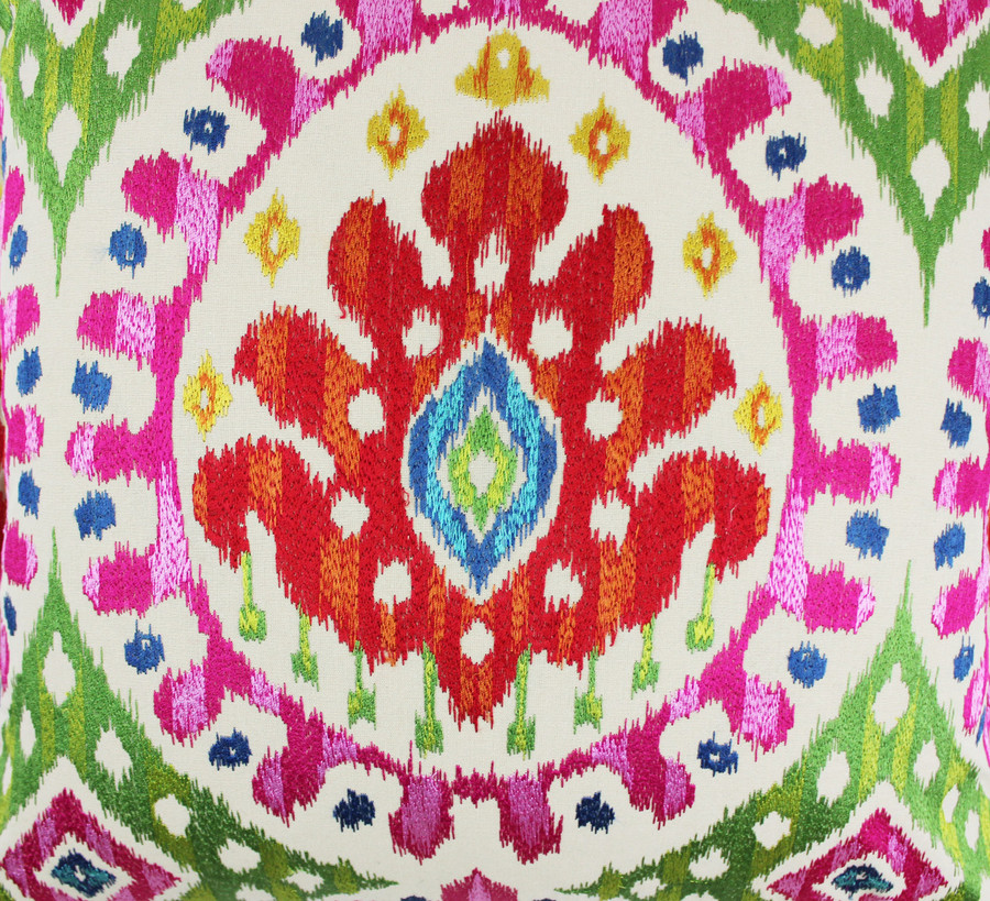 Closeup Picture of Pillow with Embroidered Bella in Rose Indien design.  Beautiful quality!