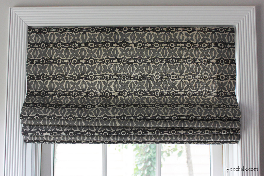 Galbraith & Paul Monarch Custom Roman Shade (Shown in Cadet on Natural Linen)
