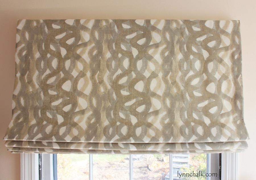 Custom Roman Shade by Lynn Chalk in Christopher Farr Fathom in Smoke