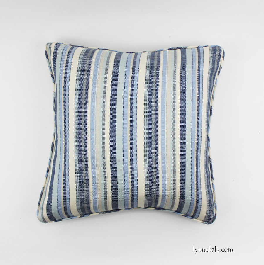 Custom Pillows by Lynn Chalk in Kravet Millstone Ocean 31774 15 with self welting