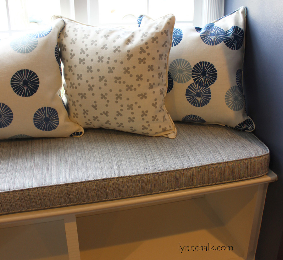 Christopher Farr Pollen Pillows in Smoke with Groundworks Kasa Blue and Cushion Schumacher Travertine linen Weave in Denim