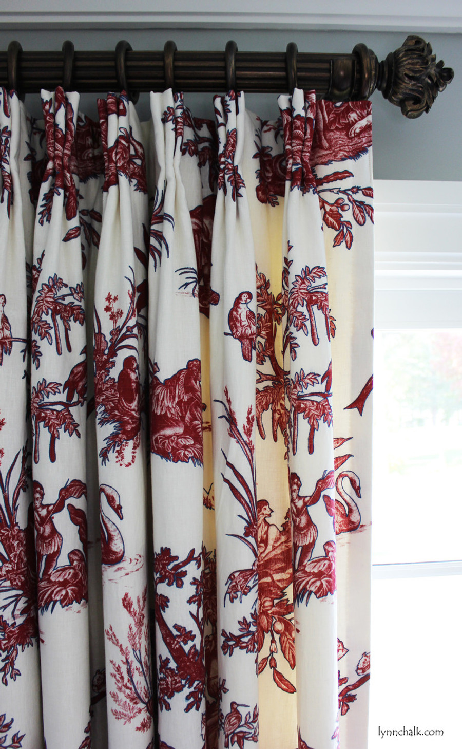 "Custom Double Width Drapes by Lynn Chalk in Continenti Rouge/Prussian.  Paris Texas Hardware-Moonlight Finish; 2"" Diameter Fluted Rods - 24"" Long with Imogene Finials."