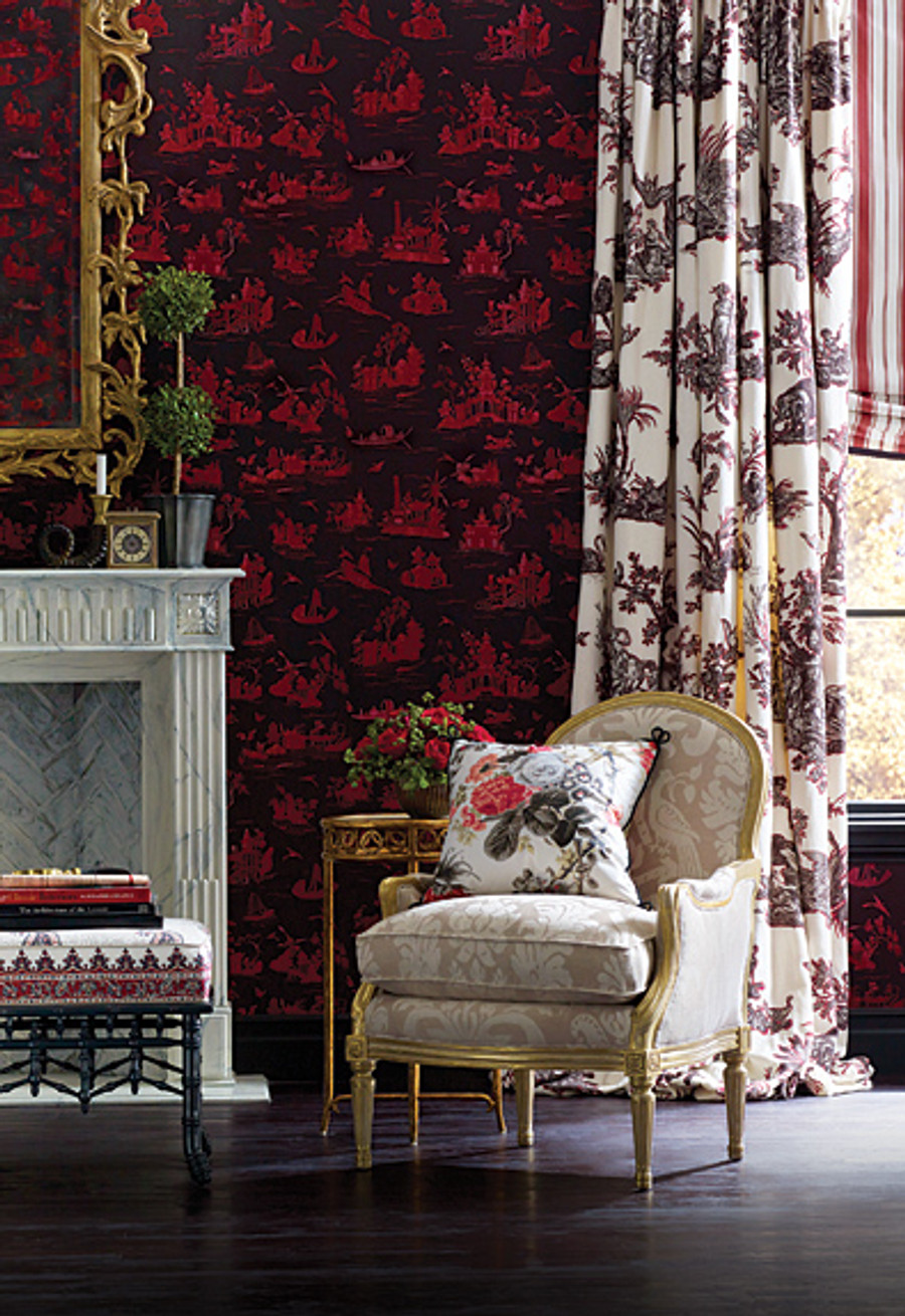 Alessandra Branca For Schumacher Continenti Drapes (shown in Prussian/Rouge)