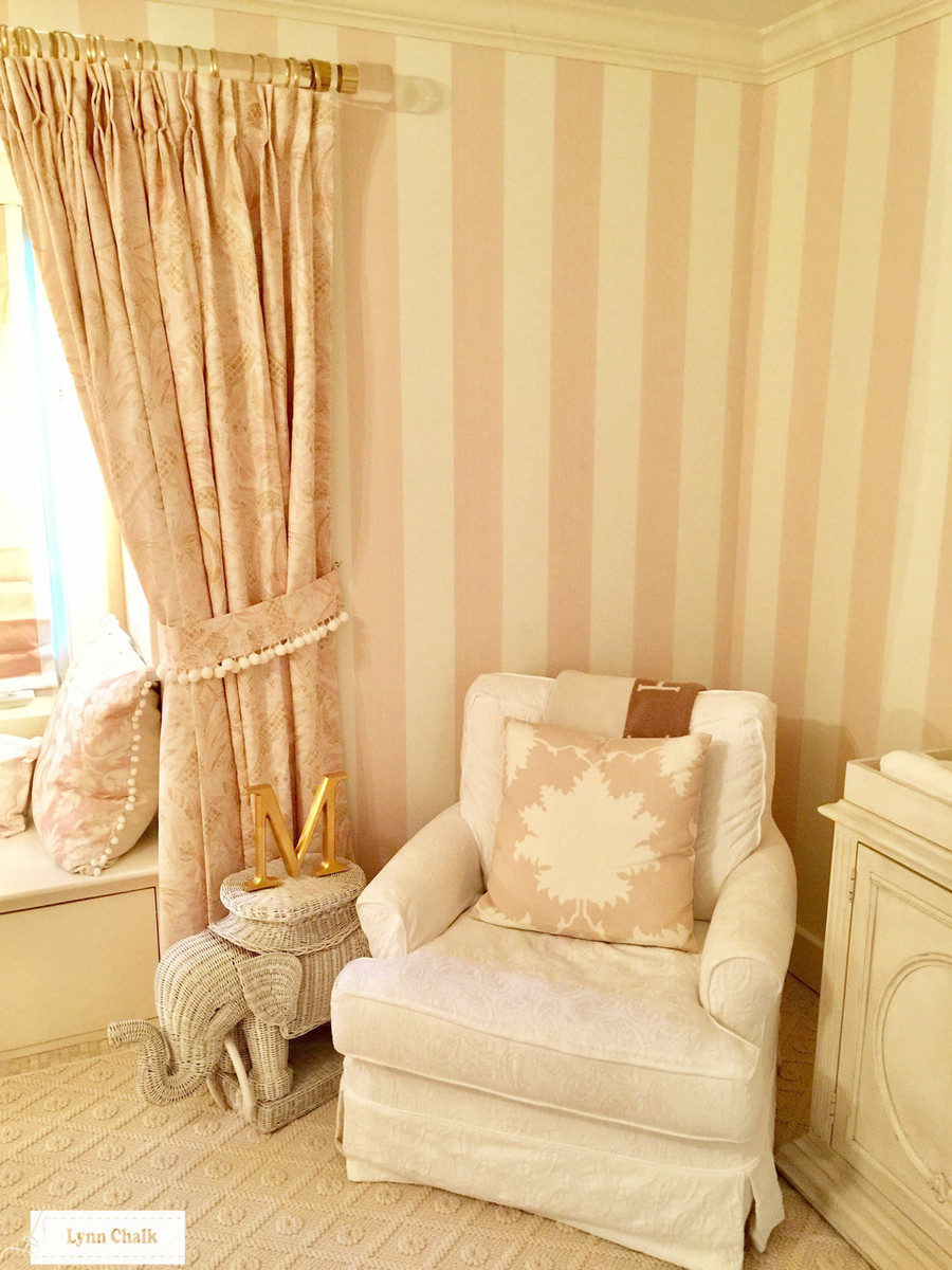 Custom Drapes in Cap Ferrat Blush.  Pillow in Garden of Persia in Blush Conch.