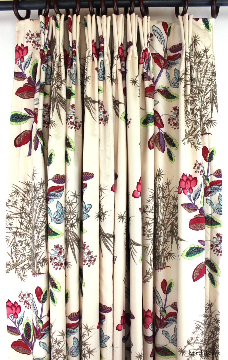 Quadrille Jardin Des Plantes Multi Custom Drapes Lined and Interlined