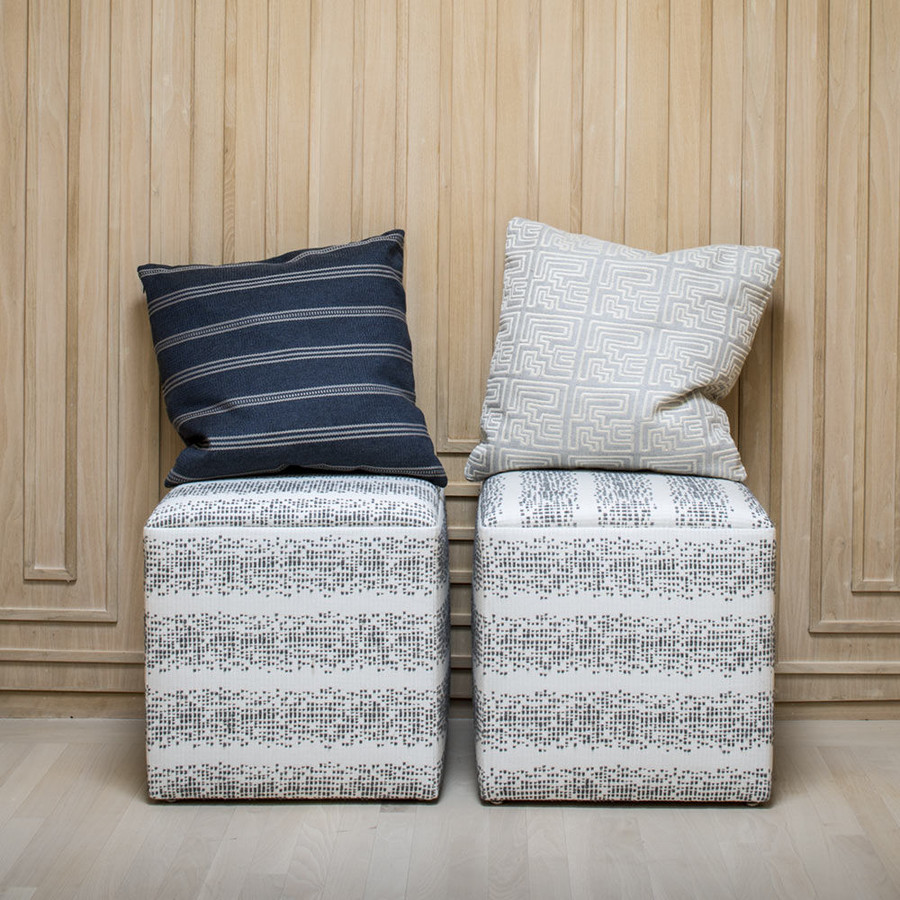 Ottoman in Balboa in Smoke.  Pillows in Ojai in Graphite and Miramar in Pyrite