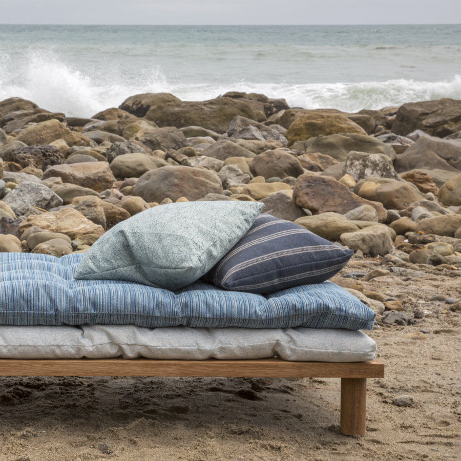Bottom Cushion and Top Pillow in Breakwater.  Striped Pillow Ojai in Tidal Wave.  Top Cushion Dune in Ocean.