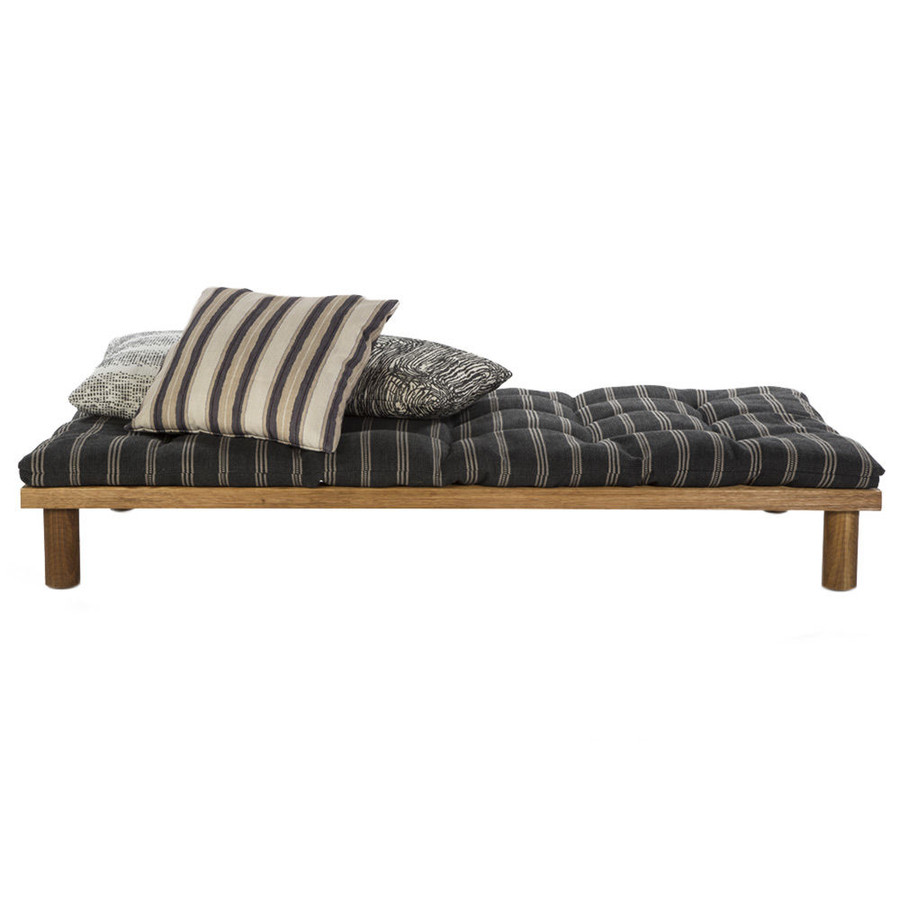 Cushion in Ojai Graphite.  Pillows in Balboa Smoke, Zuma and Shoreline.