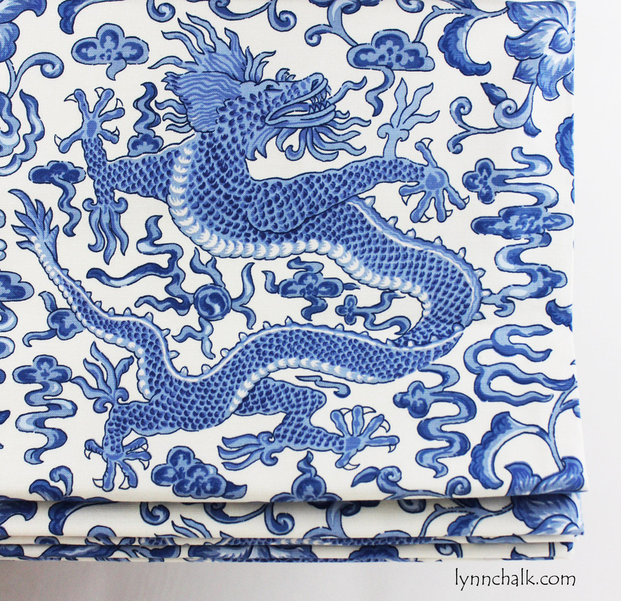 Custom Roman Shades by Lynn Chalk in Scalamandre Chi'en Dragon in Blue on White