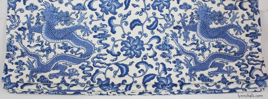 Custom Roman Shades by Lynn Chalk in Scalamandre Chi'en Dragon in Blue on White